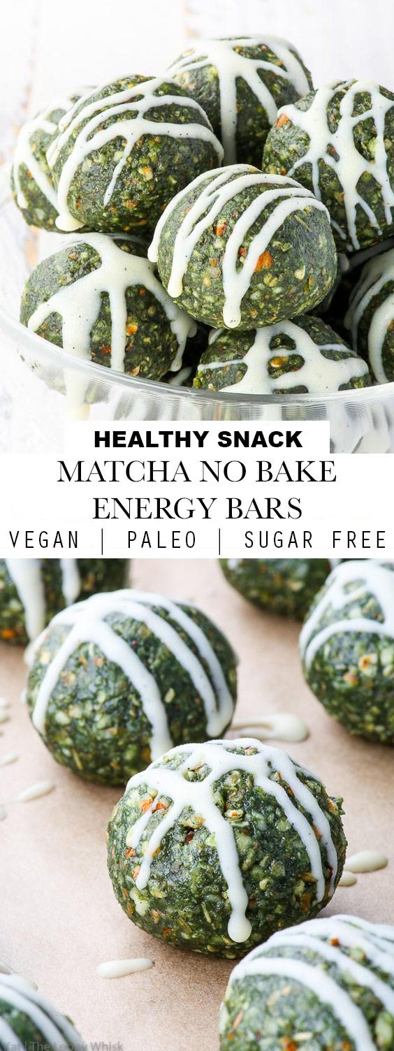 Matcha No Bake Energy Bars (Vegan + Paleo)