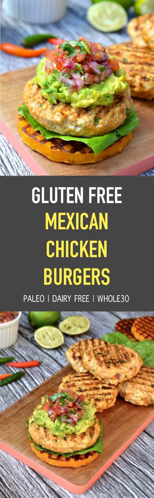 Gluten Free Mexican Chicken Burgers