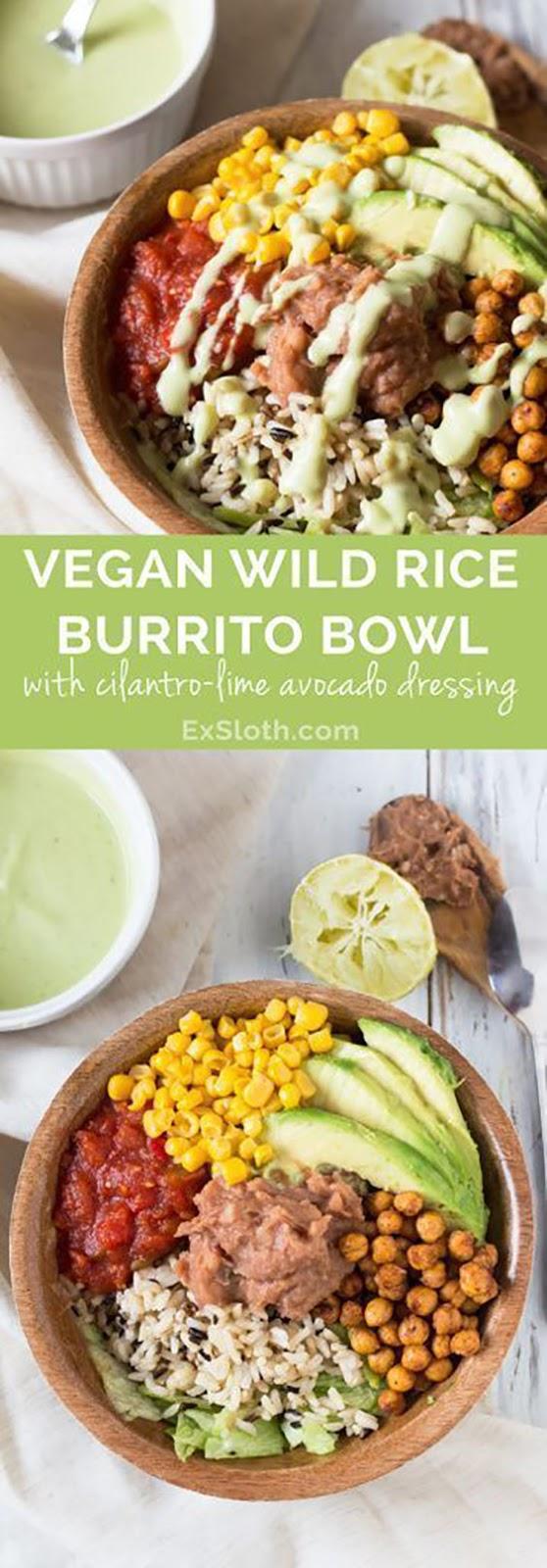 Vegan Burrito Bowl with Cilantro-Lime Avocado Dressing