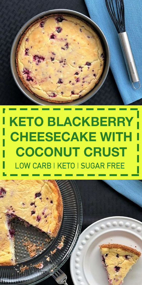 Keto Blackberry Cheesecake with Coconut Crust