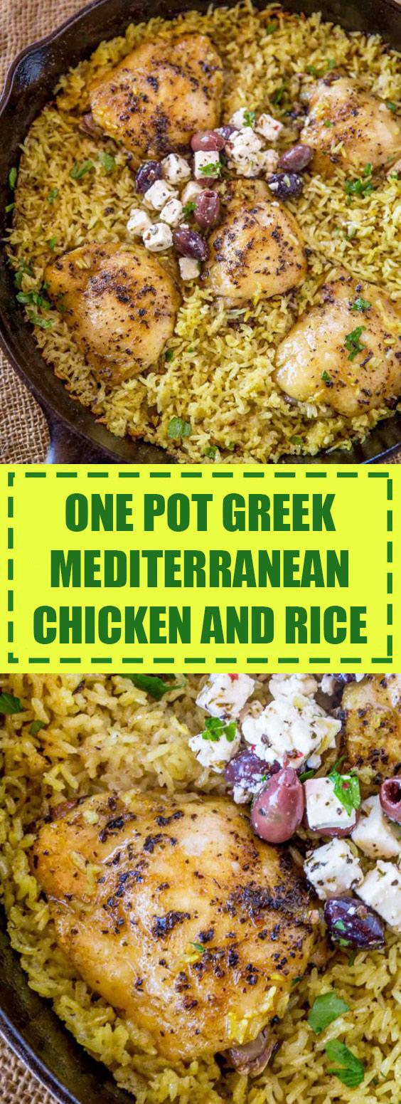 One Pot Greek Mediterranean Chicken and Rice