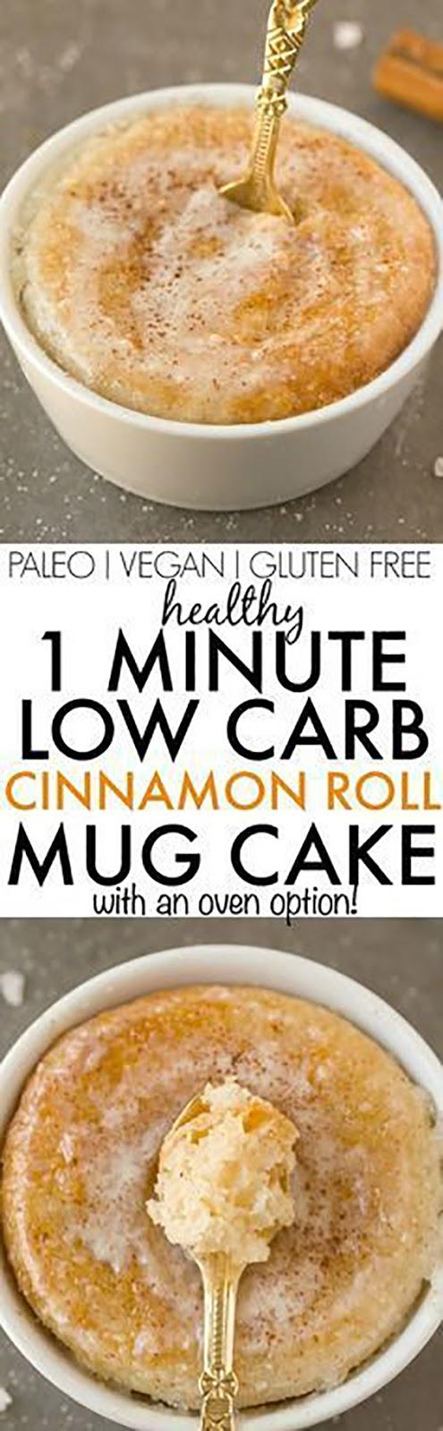 Healthy 1 Minute Low Carb Cinnamon Roll Mug Cake (Vegan + Sugar Free)