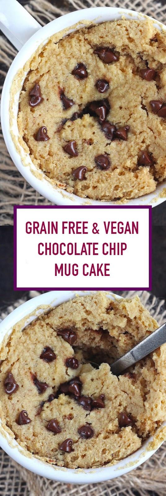Grain Free & Vegan Chocolate Chip Mug Cake