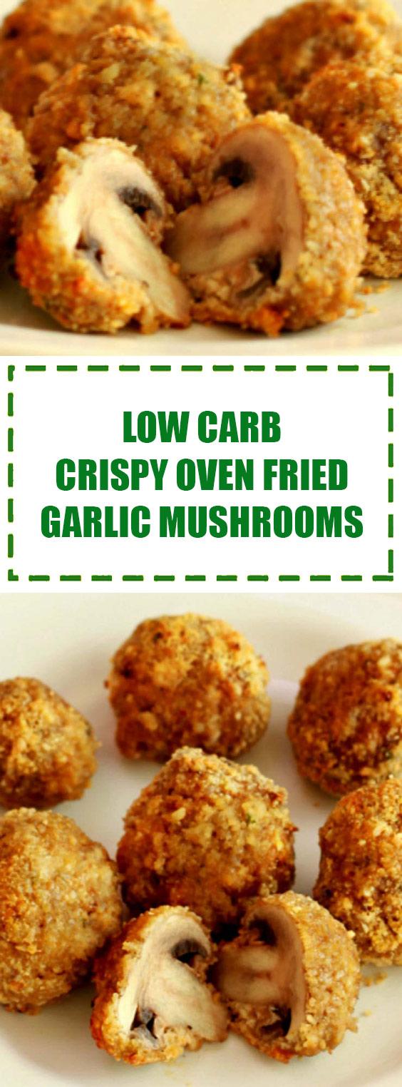Low Carb Crispy Oven Fried Garlic Mushrooms
