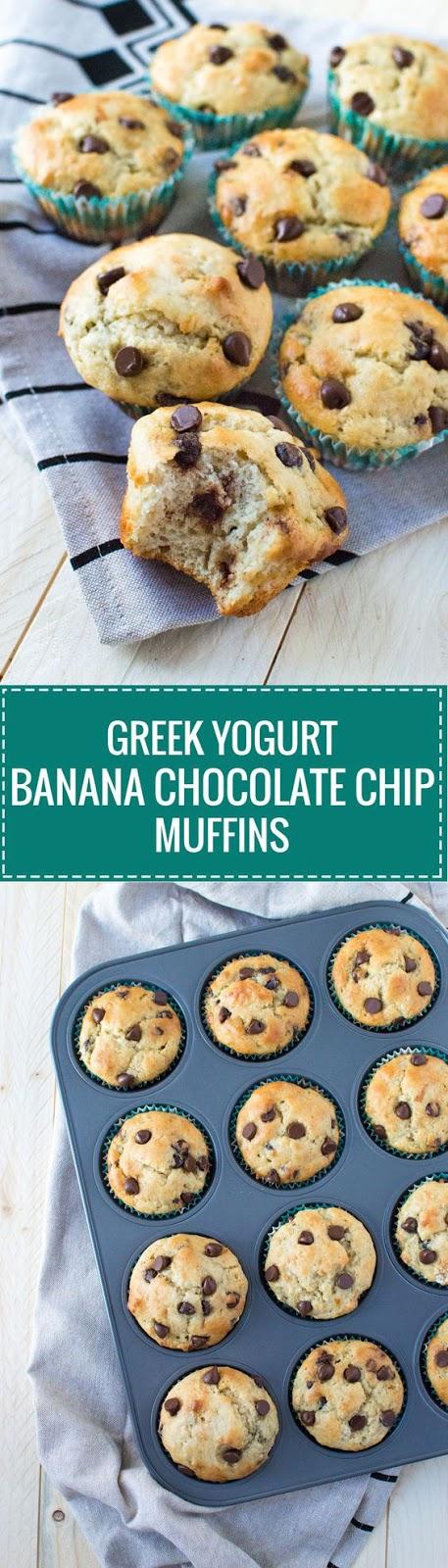 Greek Yogurt Banana Chocolate Chip Muffins