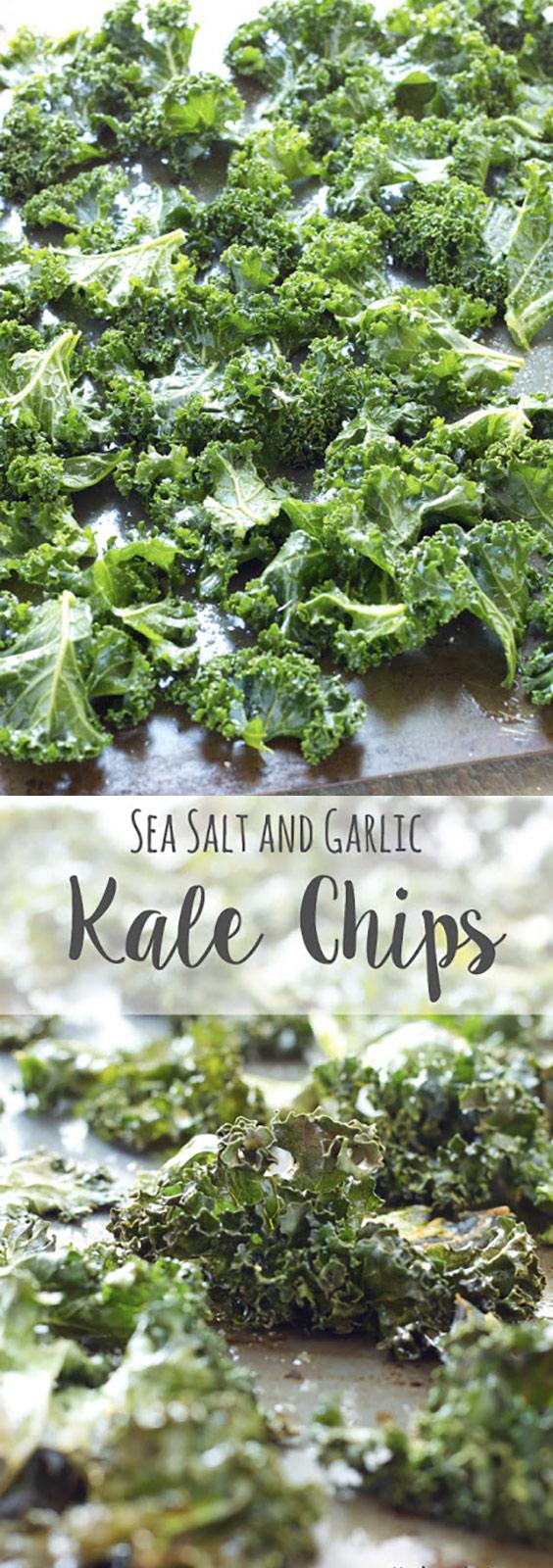 No Fail Sea Salt and Garlic Kale Chips