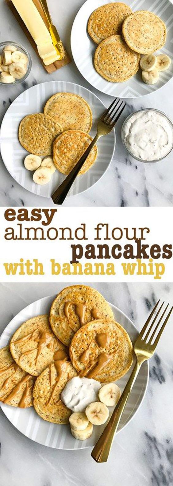 Easy Almond Flour Pancakes with Banana Whipped Cream