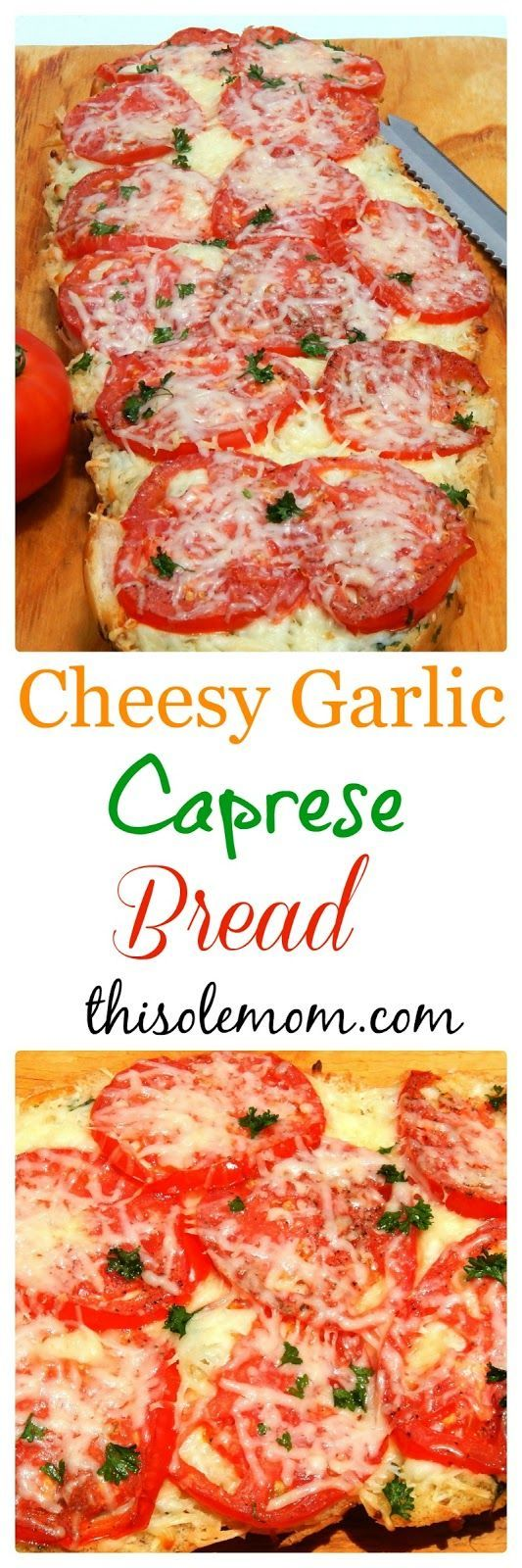 You must try this! This addicting Cheesy Garlic Caprese Bread is sure to please even the pickiest eaters! Made with fresh tomatoes, herbs, garlic , and 2 different kind of cheese.  It's Mouthwatering and simple to make.
