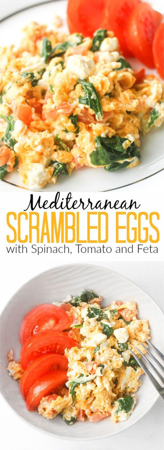 Mediterranean Scrambled Eggs with Spinach, Tomato and Feta