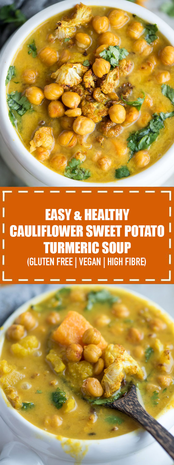 Cauliflower Sweet Potato Turmeric Soup