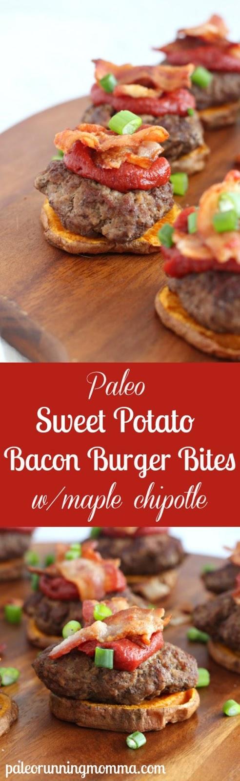 Sweet Potato Bacon Burger Bites with Maple Chipotle