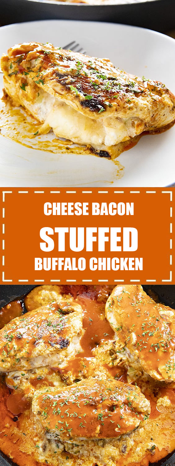 Cheese Bacon Stuffed Buffalo Chicken