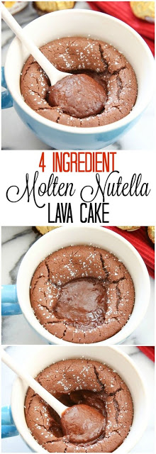 4 Ingredient Molten Nutella Lava Mug Cake