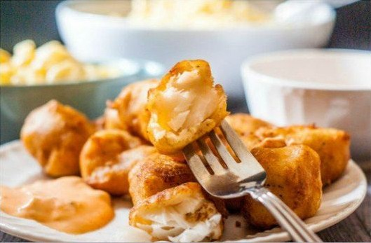 Easy Beer Batter Fish Nuggets with Sriracha Tarter Sauce