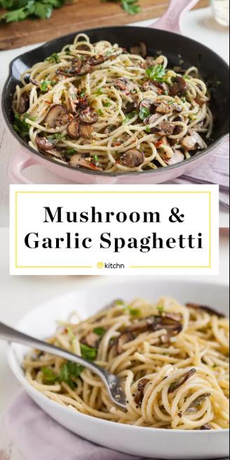 Mushroom and Garlic Spaghetti Dinner