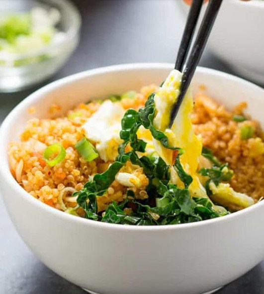 Ready in 15 Minutes! Best Meal Spicy Kimchi Quinoa Bowls