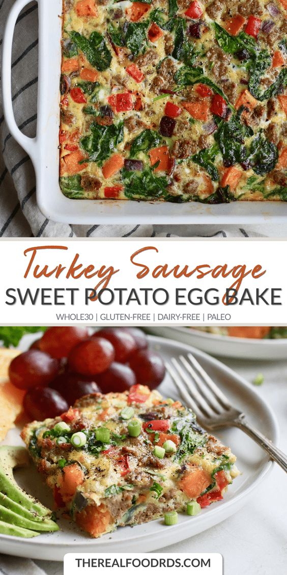 Sweet Potato Turkey Sausage Egg Bake
