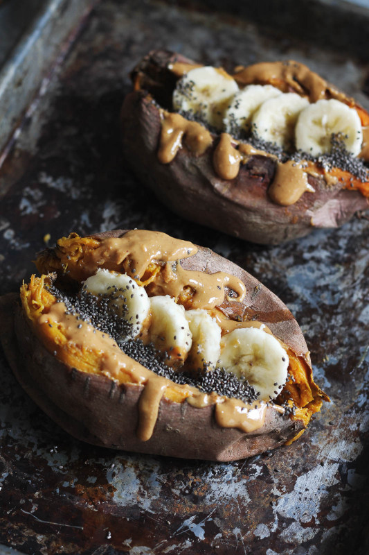 Baked Sweet Potato  Breakfast Baked Sweet Potatoes with Almond Butter