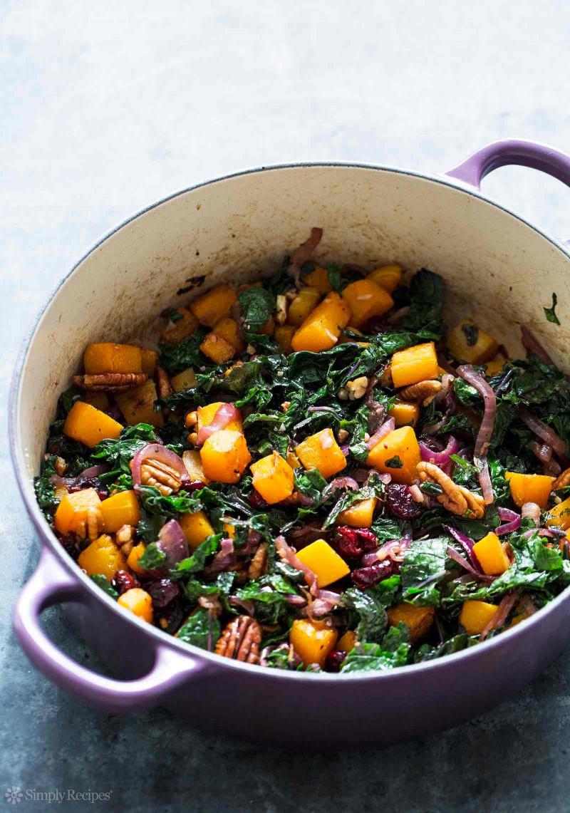 Butternut Squash Recipes  Roasted Butternut Squash Kale Sauté Recipe