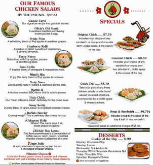 Chicken Salad Chick  Chicken Salad Chick Menu Menu for Chicken Salad Chick