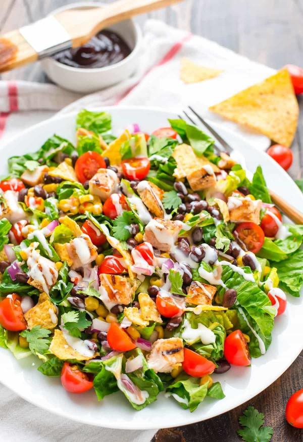Chicken Salad Recipe  BBQ Chicken Salad with Creamy Ranch