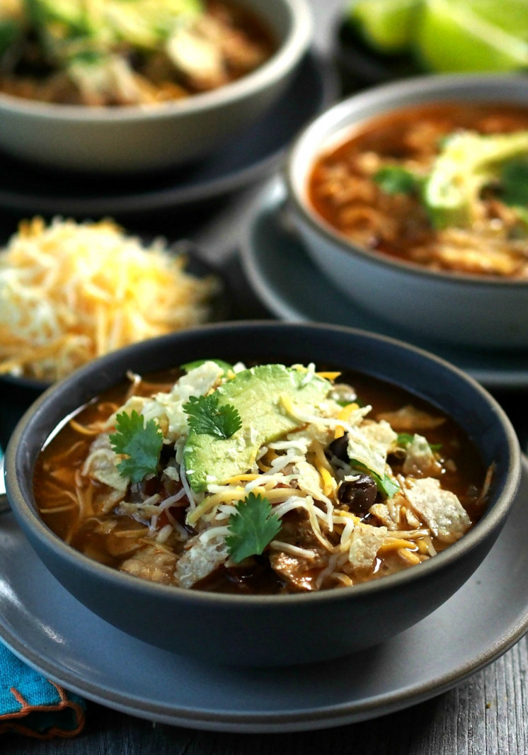 Chicken tortilla soup Beautiful Chicken tortilla soup Simply Sated