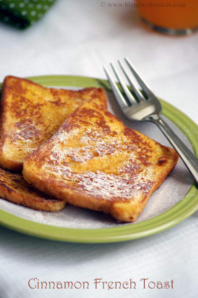 French Toast Recipe  Eggless Cinnamon French Toast Recipe