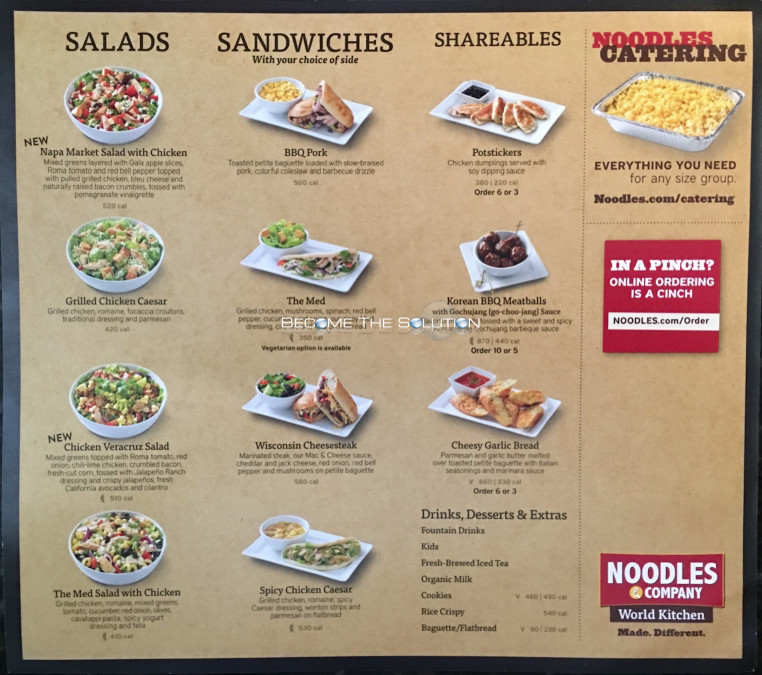 Noodles And Company Menu  Noodles And pany Carry Out Menu Chicago Scanned Menu