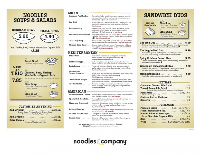 Noodles And Company Menu  Orlando Dine Noodles & pany opens in Lake Buena Vista