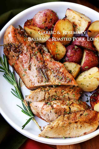 Pork Loin Recipes  Garlic and Rosemary Balsamic Roasted Pork Loin Recipe
