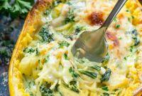 Spaghetti Squash Recipes Lovely Cheesy Garlic Parmesan Spinach Spaghetti Squash Peas and