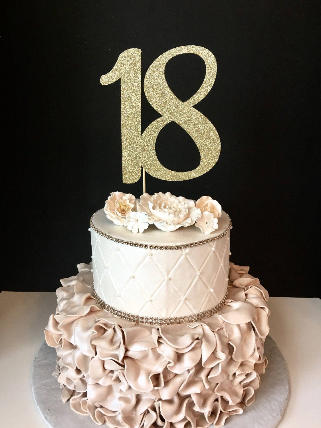 18Th Birthday Cake  ANY NUMBER Gold Glitter 18th Birthday Cake Topper number