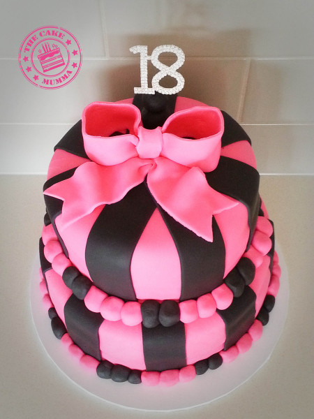 18Th Birthday Cake  Pink And Black Themed 18Th Birthday Cake Chocolate Cake