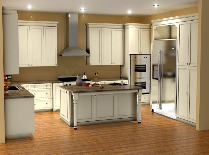 3D Kitchen Design  Traditional white kitchen design 3D rendering
