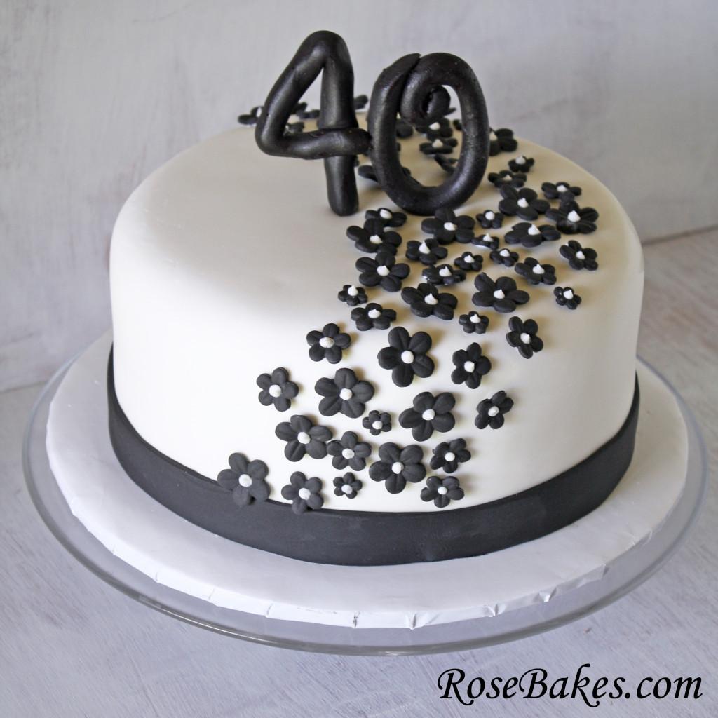 40Th Birthday Cake Ideas  Black & White 40th Birthday Cake