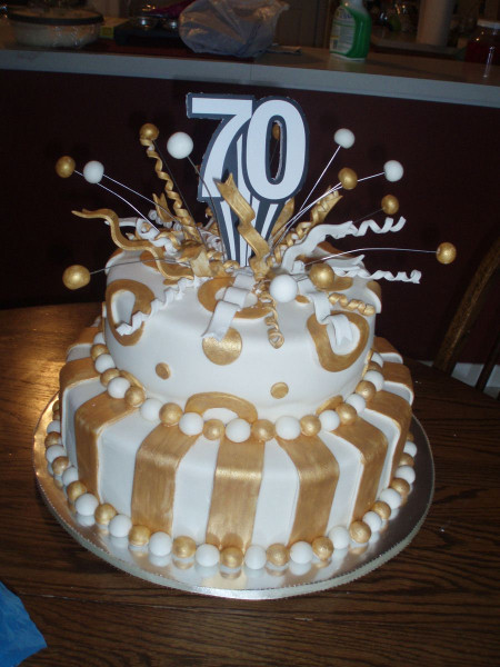 70Th Birthday Cake  70Th Birthday Cake fondant covered white cakeplease let me