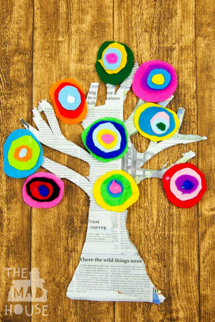 Art Project For Kids  Kandinsky Inspired Tree made with Felt Scraps Mum In The
