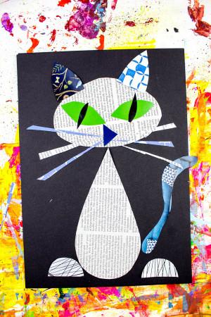 Artwork For Kids  Cool Cat Newspaper Art Project for Kids