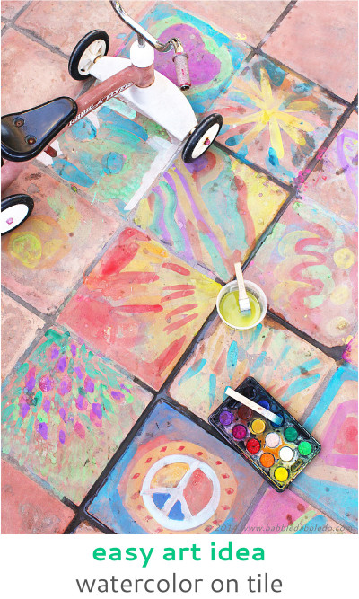 Artwork For Kids  Easy Art Ideas for Kids Watercolor on Tile Babble Dabble Do