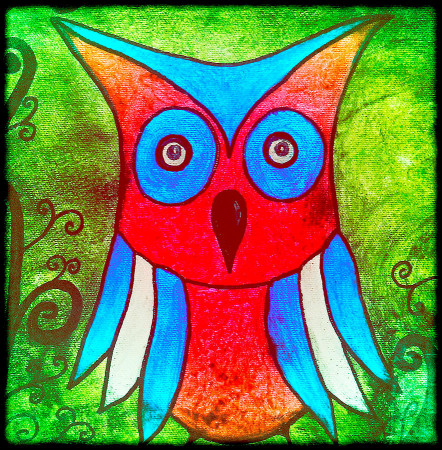 Artwork For Kids  Colorful Owl Kids Art Painting by Laura Carter