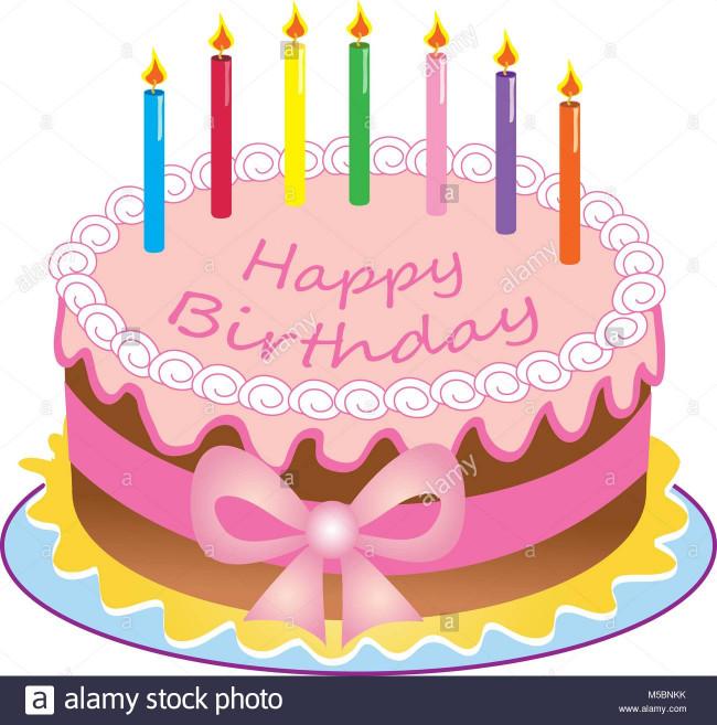 Birthday Cake Cartoon  A cartoon happy birthday cake with colored candles sugar