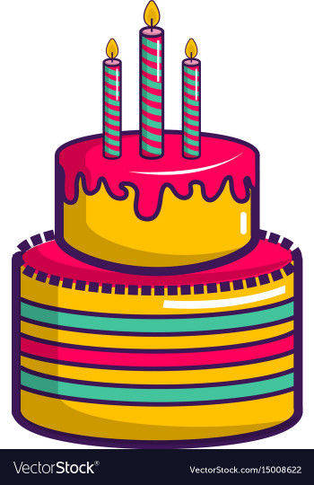Birthday Cake Cartoon  Colorful birthday cake icon cartoon style Vector Image