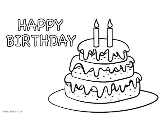 Birthday Cake Coloring Page  Free Printable Birthday Cake Coloring Pages For Kids