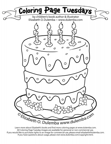 Birthday Cake Coloring Page  dulemba Coloring Page Tuesdays Birthday Cake for 5th