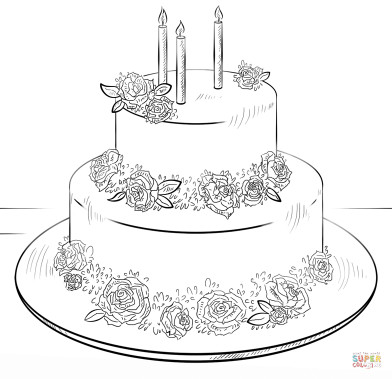 Birthday Cake Coloring Page  Birthday cake with roses coloring page