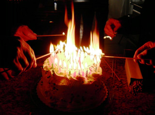 Birthday Cake On Fire  96 Candlepower — Don't Try This Without a Fire
