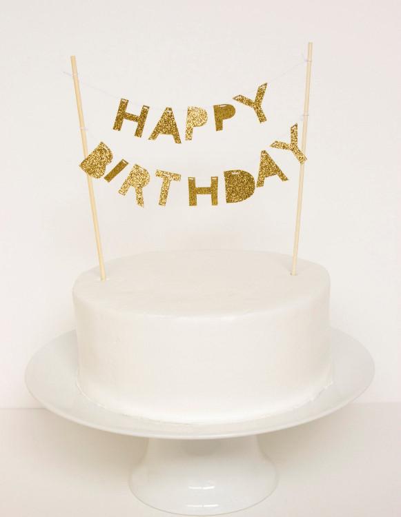 Birthday Cake Toppers  Happy Birthday Cake Topper Gold Glitter