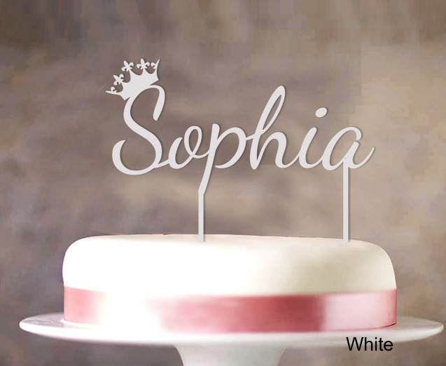"""Birthday Cake Toppers  """"Sophia"""" Custom Name Cake Topper With Crown Personalized"""