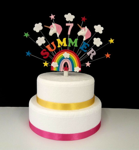 Birthday Cake Toppers  Rainbow unicorn birthday cake topper personalised name