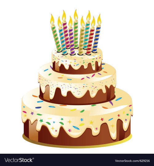 Birthday Cake Vector  Birthday cake and candle Royalty Free Vector Image